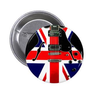 Guitare britannique d'Union Jack de drapeau Badge Rond 5 Cm