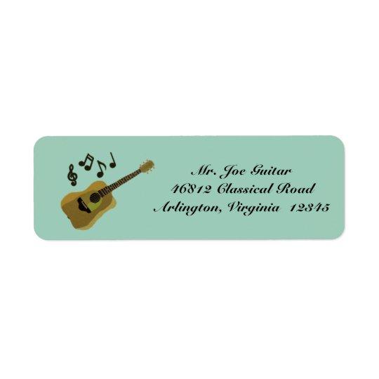 Guitare classique étiquettes d'adresse retour
