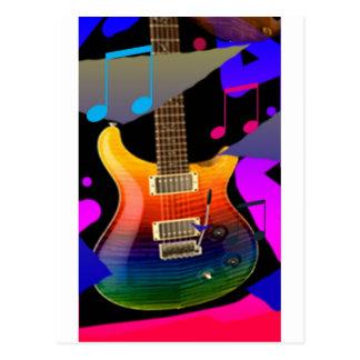 Guitare colorée - roche dessus ! carte postale