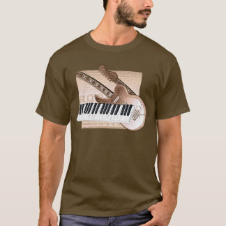 Guitare de clavier de T-shirt de conception de