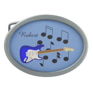 Guitare électrique de bleu royal boucle de ceinture ovale