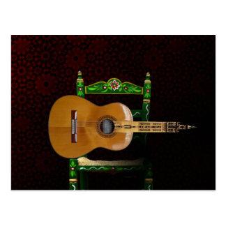 Guitare espagnole avec Girouette Séville et chaise Carte Postale