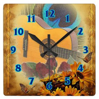 Guitare florale horloge carrée