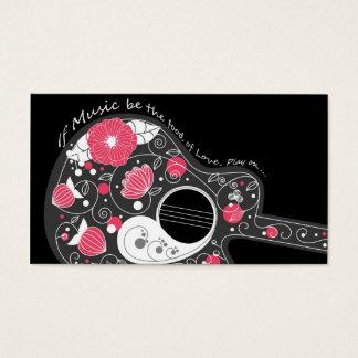 Guitare girly à la mode mignonne fraîche cartes de visite