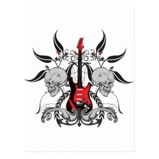 Guitare grunge et crâne carte postale
