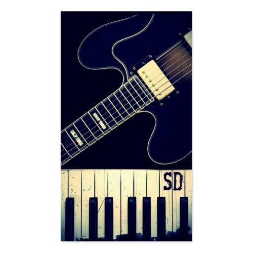 Guitare grunge personnalisée de clavier de piano cartes de visite professionnelles