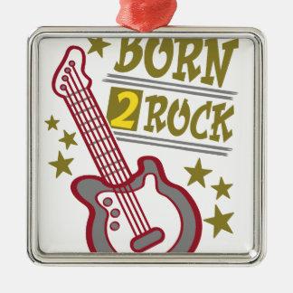 Guitare née de roche, conception de guitariste ornement carré argenté
