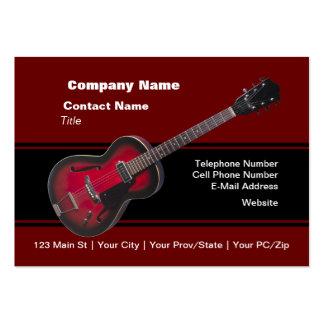 Guitare rouge de HollowBody Carte De Visite Grand Format