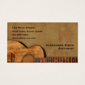 Guitare rustique cartes de visite