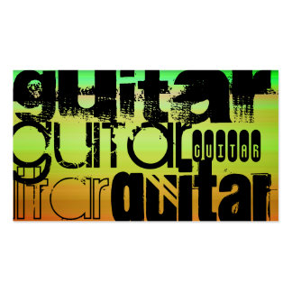 Guitare ; Vert, orange vibrants, et jaune Carte De Visite Standard