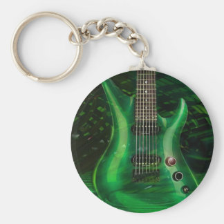 Guitare verte porte-clé rond