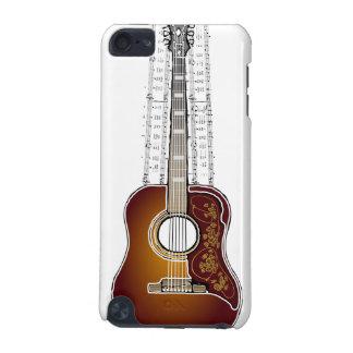Guitare vintage avec la musique de feuille - cas d