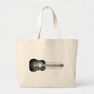 Guitare vintage avec la musique de feuille - sac