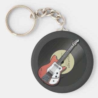 Guitare vintage porte-clé rond