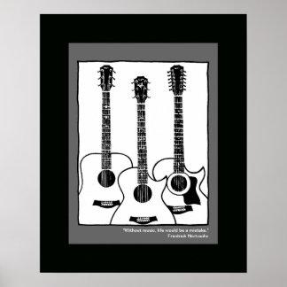 guitares acoustiques graphiques blanches noires posters