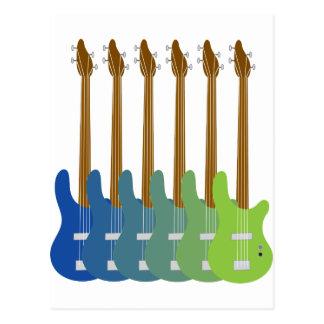 Guitares basses colorées carte postale