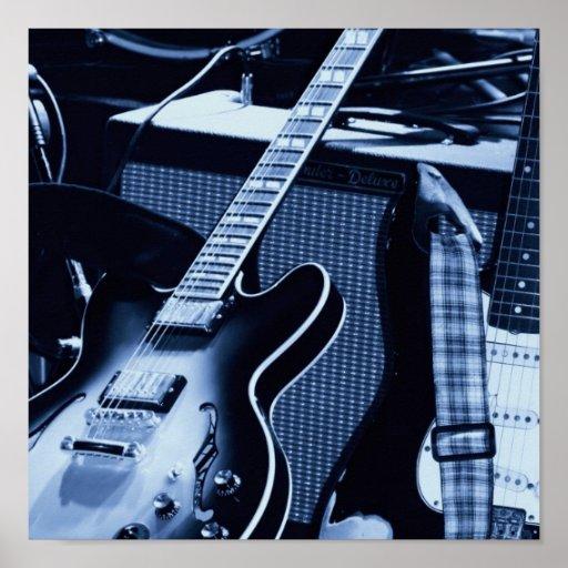 Guitares bleues électriques affiches