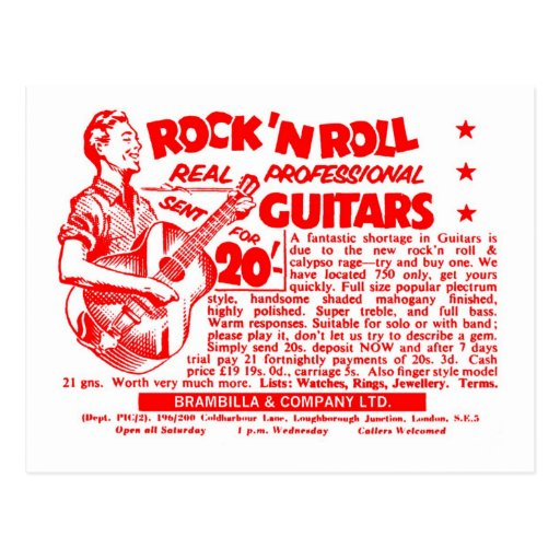 Guitares de roche de kitsch de petit pain vintage  cartes postales