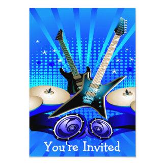Guitares électriques, tambours et haut-parleurs carton d'invitation  12,7 cm x 17,78 cm