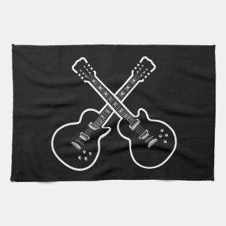 Guitares noires et blanches fraîches serviette pour les mains