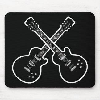 Guitares noires et blanches géniales tapis de souris