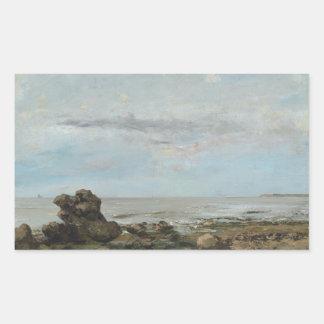 Gustave Courbet - la plage chez Trouville Sticker Rectangulaire
