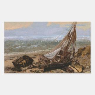 Gustave Courbet - le bateau de pêche Sticker Rectangulaire