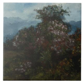 Gustave Courbet - paysage avec Massiv fleuri Grand Carreau Carré