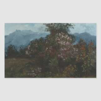 Gustave Courbet - paysage avec Massiv fleuri Sticker Rectangulaire