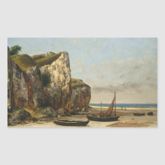Gustave Courbet - plage en Normandie Sticker Rectangulaire