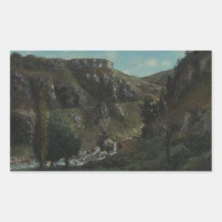 Gustave Courbet - vallée de Laloue Sticker Rectangulaire