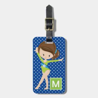 Gymnaste mignon de point de polka étiquette pour bagages