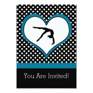 Gymnastique à pois bleue avec le coeur carton d'invitation  12,7 cm x 17,78 cm