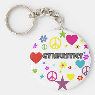 Gymnastique avec les graphiques mélangés porte-clé rond