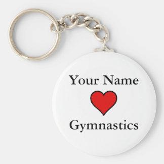Gymnastique de coeurs (de votre nom) porte-clé rond