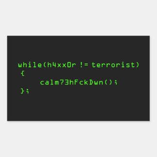 h4xx0r ! = terroriste sticker rectangulaire