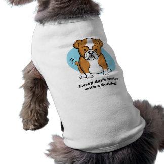 Habillement mignon d'animal familier de bouledogue tee-shirt pour chien