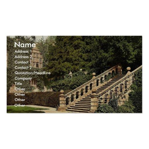 Haddon Hall, la terrasse fait un pas, Derbyshire,  Modèles De Cartes De Visite