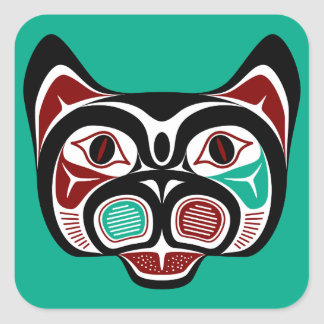Haida du nord-ouest Kitty de Côte Pacifique Sticker Carré