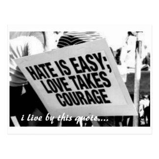 haine, je vis à côté de cette citation…. carte postale