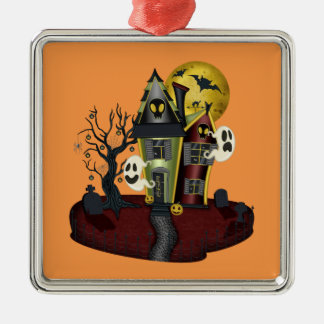 Halloween a hanté la maison ornement carré argenté