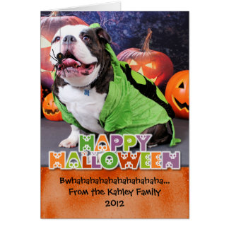 Halloween - bouledogue anglais - transitoire cartes de vœux