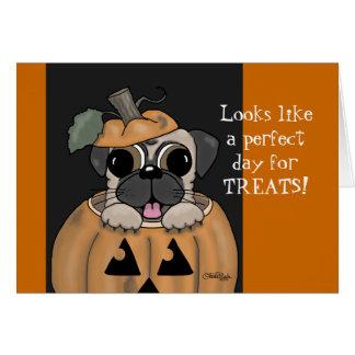 Halloween-Carlin heureux dans la lanterne de Jack Carte De Vœux