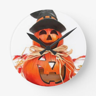 Halloween, chute, citrouilles d'automne horloge ronde