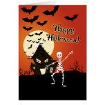 Halloween heureux du squelette de danse cartes de vœux