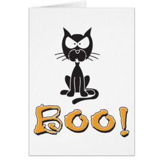 Halloween heureux huent le chat noir carte de vœux