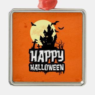 Halloween heureux ornement carré argenté
