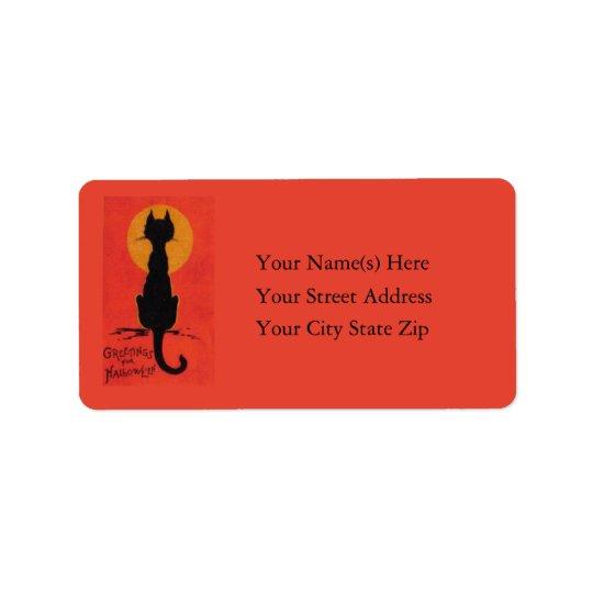 Halloween le plus noir des chats vintages étiquette d'adresse