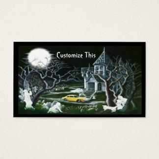 Halloween, maison hantée, carte de visite