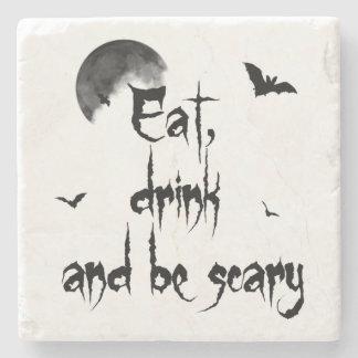 Halloween - mangez, boisson et soyez effrayant dessous-de-verre en pierre